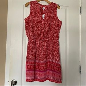 Gap Red Print Boho Style Sleeveless Dress L 12 New
